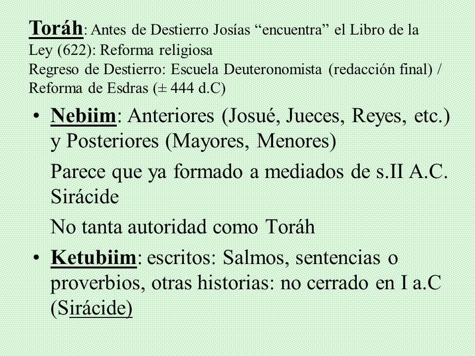 Nebiim: Anteriores (Josué, Jueces, Reyes, etc.) y Posteriores (Mayores, Menores) Parece que ya formado a mediados de s.II A.C.