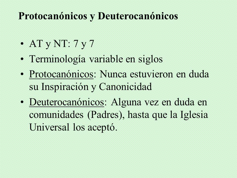 AT y NT: 7 y 7 Terminología variable en siglos Protocanónicos: Nunca estuvieron en duda su Inspiración y Canonicidad Deuterocanónicos: Alguna vez en duda en comunidades (Padres), hasta que la Iglesia Universal los aceptó.