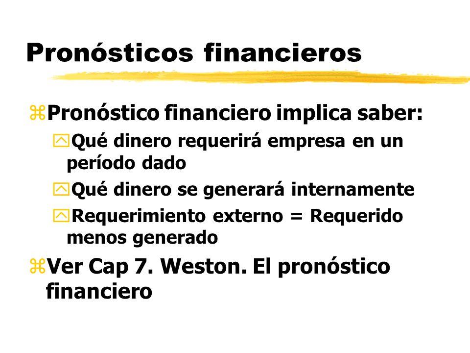zMétodos yPresupuesto Efectivo yBalance Proyectado o proforma yMétodo de fórmula Pronósticos financieros