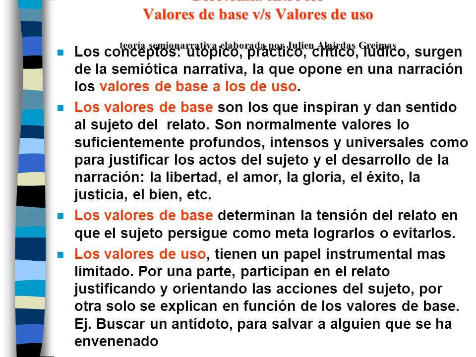 valores de base v/s valores de uso n Los valores de base se definen como los valores utópicos y por extensión semántica, los valores críticos.