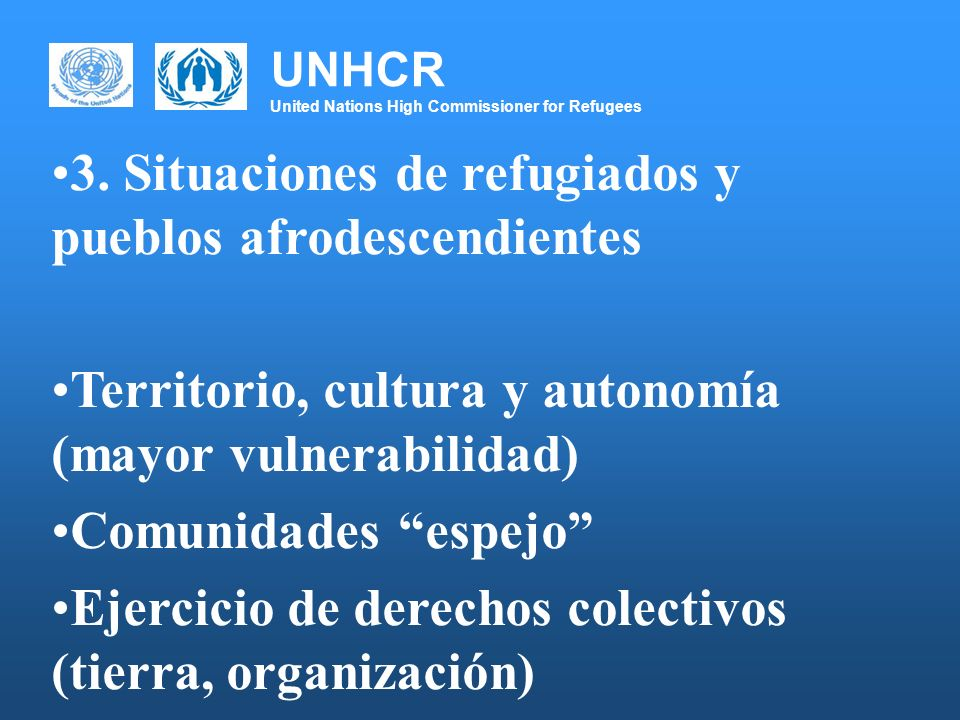 UNHCR United Nations High Commissioner for Refugees 3.