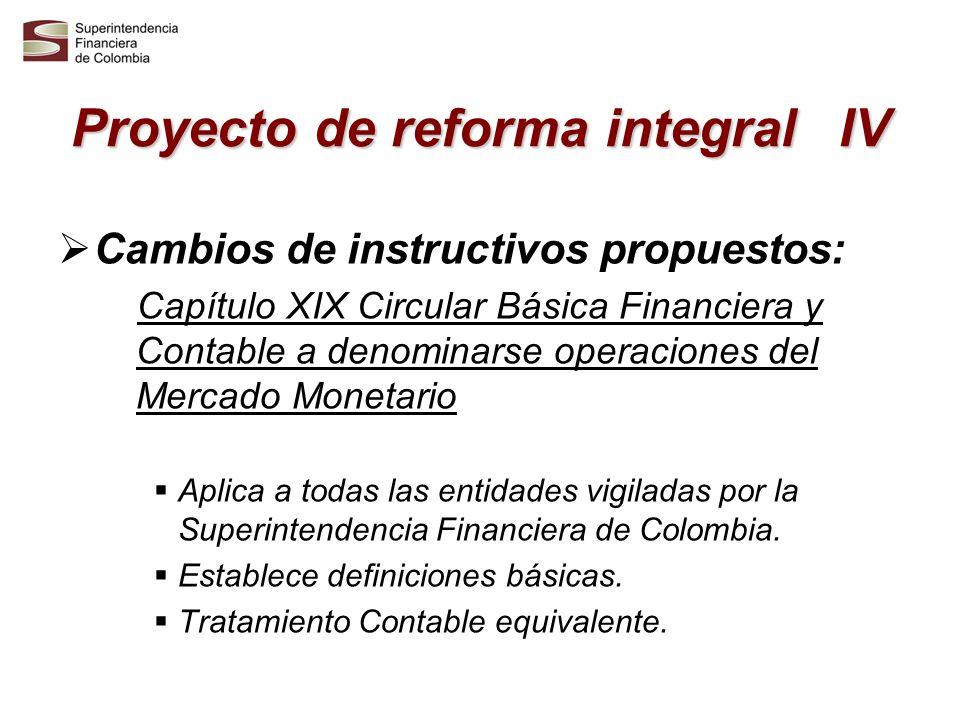 Proyecto de reforma integral V Cambios Circular Básica Jurídica Se modifica el régimen prudencial aplicable.