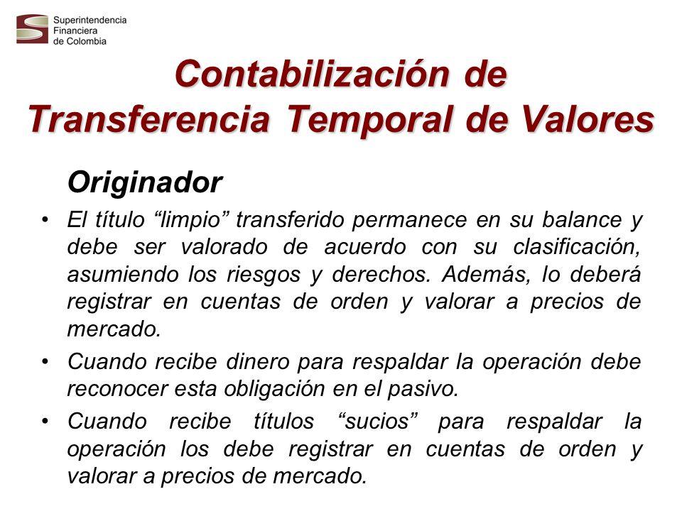 Contabilización de Transferencia Temporal de Valores Receptor El título limpio adquirido se registra en cuentas de orden y su valoración se deberá realizar a precios de mercado.