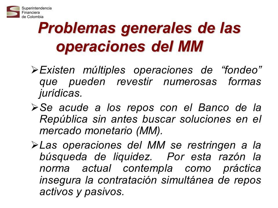 Problemas generales de las operaciones del MM Existen regulaciones paralelas aplicables a personas quienes realizan operaciones del MM, dependiendo de si eran vigiladas por la Superintendencia Bancaria de Colombia o por la Superintendencia de Valores.