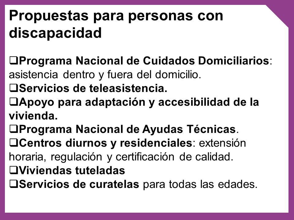 Propuestas para personas adultas mayores: Personas que residen en centros de larga estadía: regulación, capacitación a formadores/as, diseño de protocolos, centros regionales de referencia.