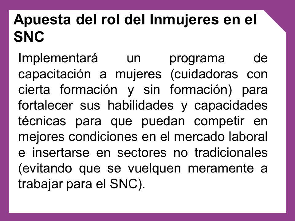 En el caso del Programa Nacional de cuidados domiciliarios además de ejercer la rectoría en la formación de cuidadores/as Inmujeres deberá incidir en la regulación del nuevo sector cuidados.