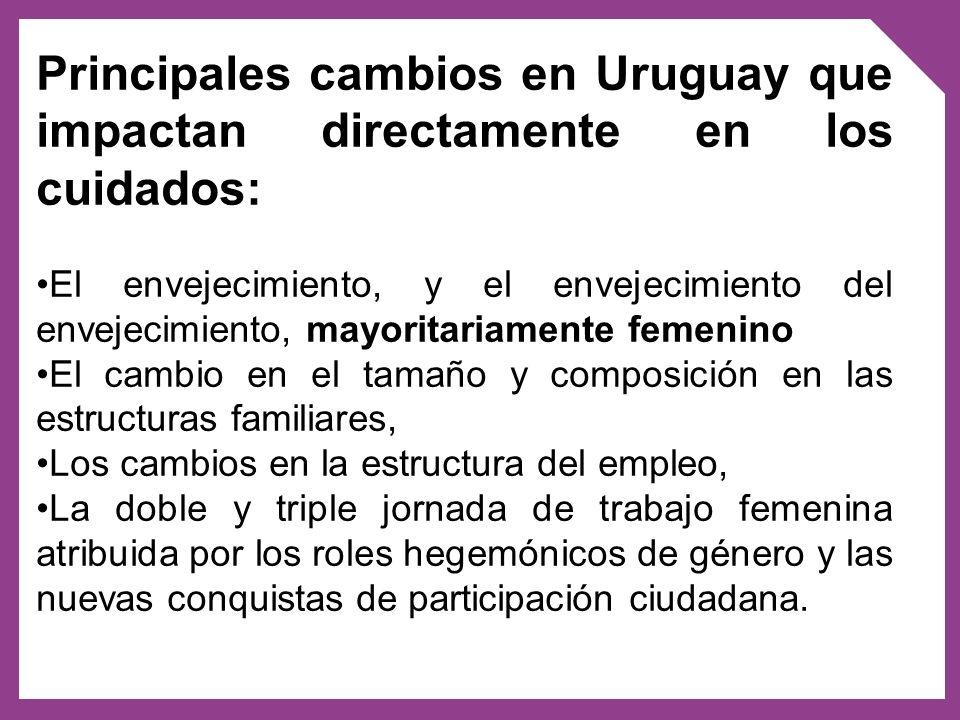 El envejecimiento demográfico ubica a Uruguay como el país más envejecido en la región (19% de personas mayores de 60 años de edad) con un marcado perfil feminizado sobre- envejecido.