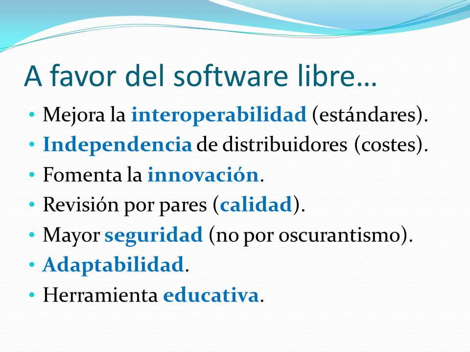 A favor del software libre…