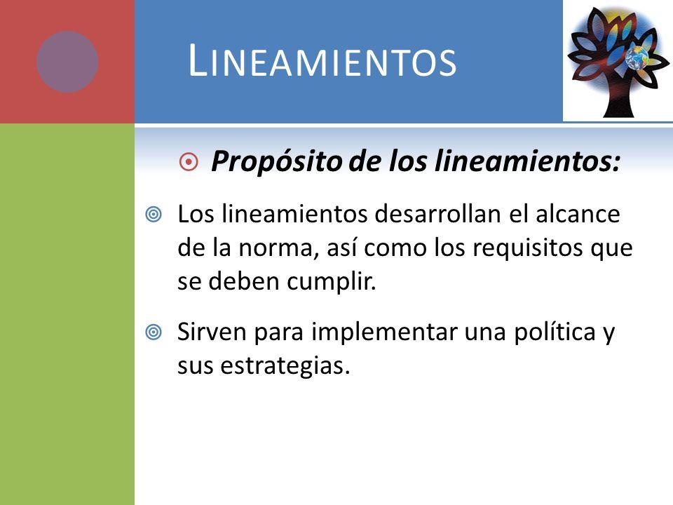 Lineamientos Propósito de los lineamientos: