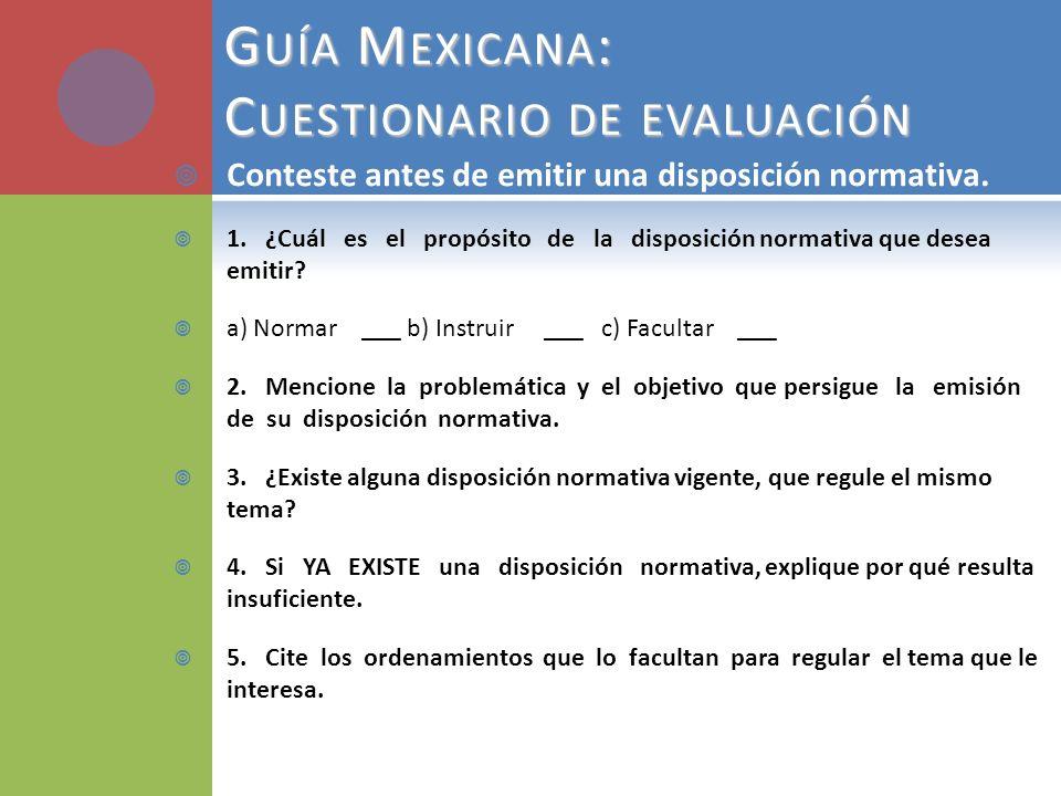 Guía Mexicana: Cuestionario de evaluación