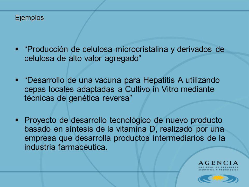 Ejemplos Producción de celulosa microcristalina y derivados de celulosa de alto valor agregado