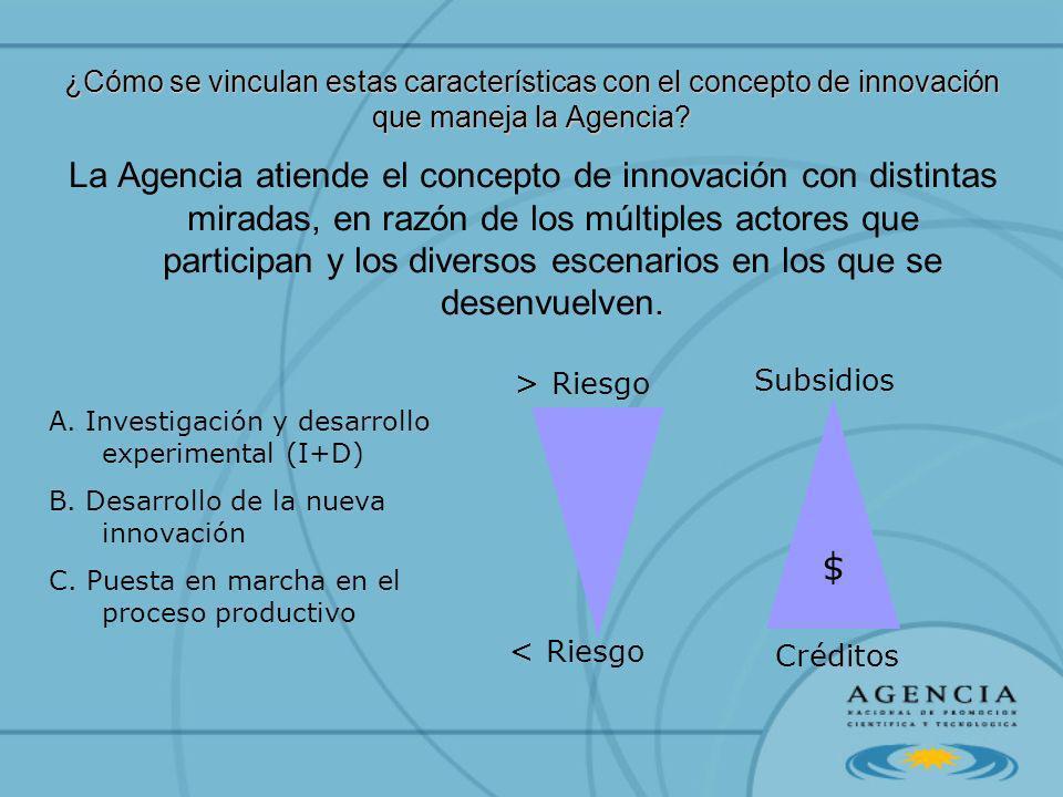 ¿Cómo se vinculan estas características con el concepto de innovación que maneja la Agencia