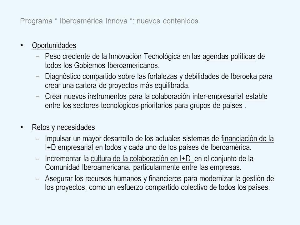 Programa Iberoamérica Innova : nuevos contenidos