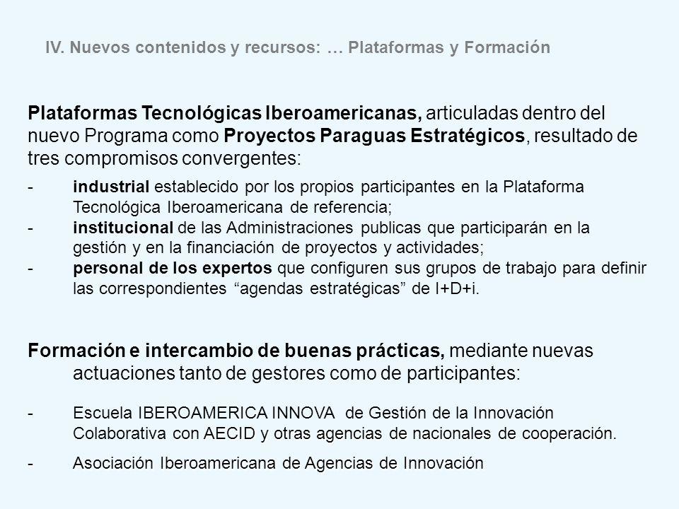 Plataformas Tecnológicas Iberoamericanas, articuladas dentro del
