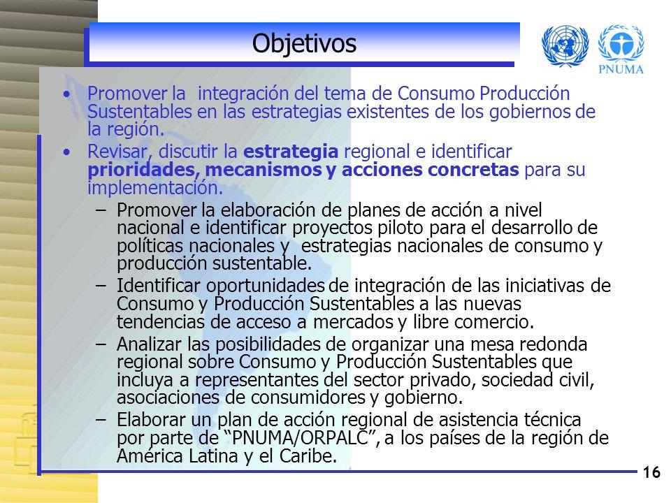 ObjetivosPromover la integración del tema de Consumo Producción Sustentables en las estrategias existentes de los gobiernos de la región.