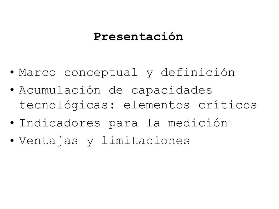 Presentación Marco conceptual y definición. Acumulación de capacidades tecnológicas: elementos críticos.