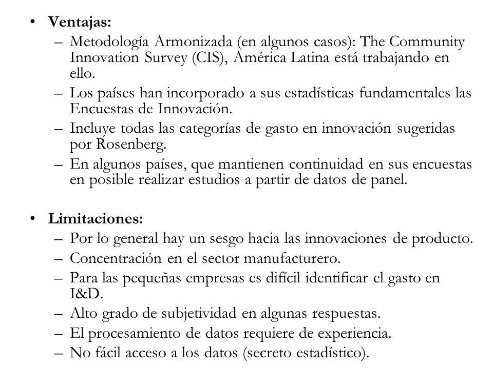 Ventajas:Metodología Armonizada (en algunos casos): The Community Innovation Survey (CIS), América Latina está trabajando en ello.