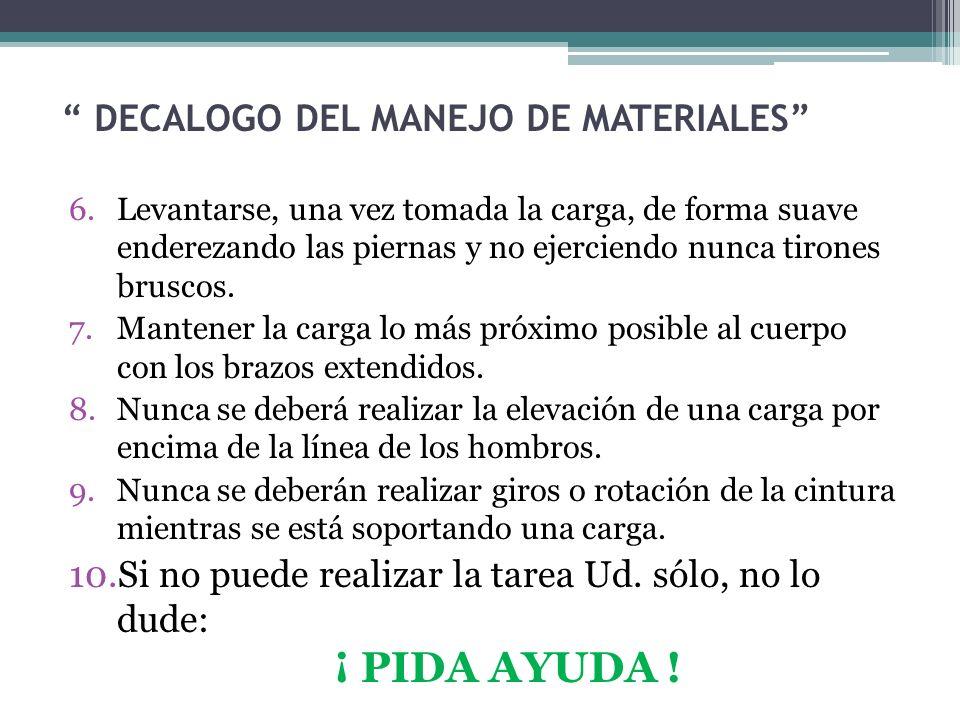 DECALOGO DEL MANEJO DE MATERIALES