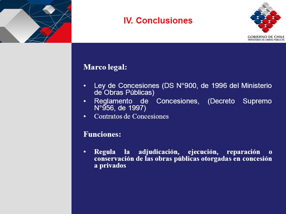IV. Conclusiones Marco legal: Funciones: