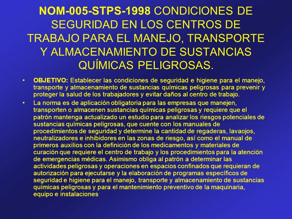 NOM-005-STPS-1998 CONDICIONES DE SEGURIDAD EN LOS CENTROS DE TRABAJO PARA EL MANEJO, TRANSPORTE Y ALMACENAMIENTO DE SUSTANCIAS QUÍMICAS PELIGROSAS.