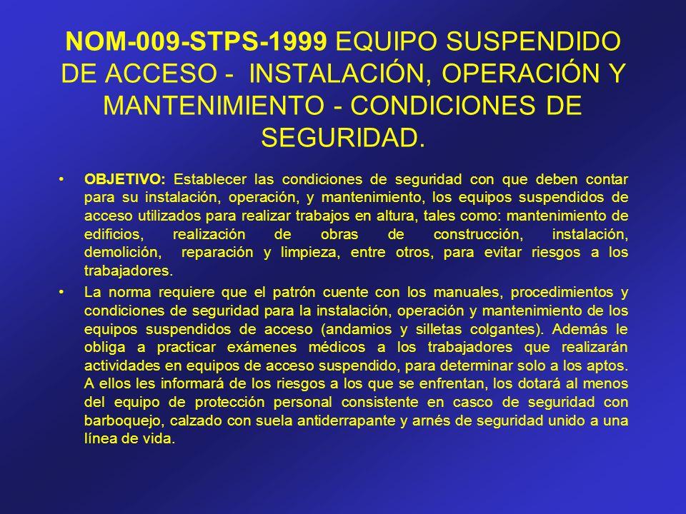 NOM-009-STPS-1999 EQUIPO SUSPENDIDO DE ACCESO - INSTALACIÓN, OPERACIÓN Y MANTENIMIENTO - CONDICIONES DE SEGURIDAD.