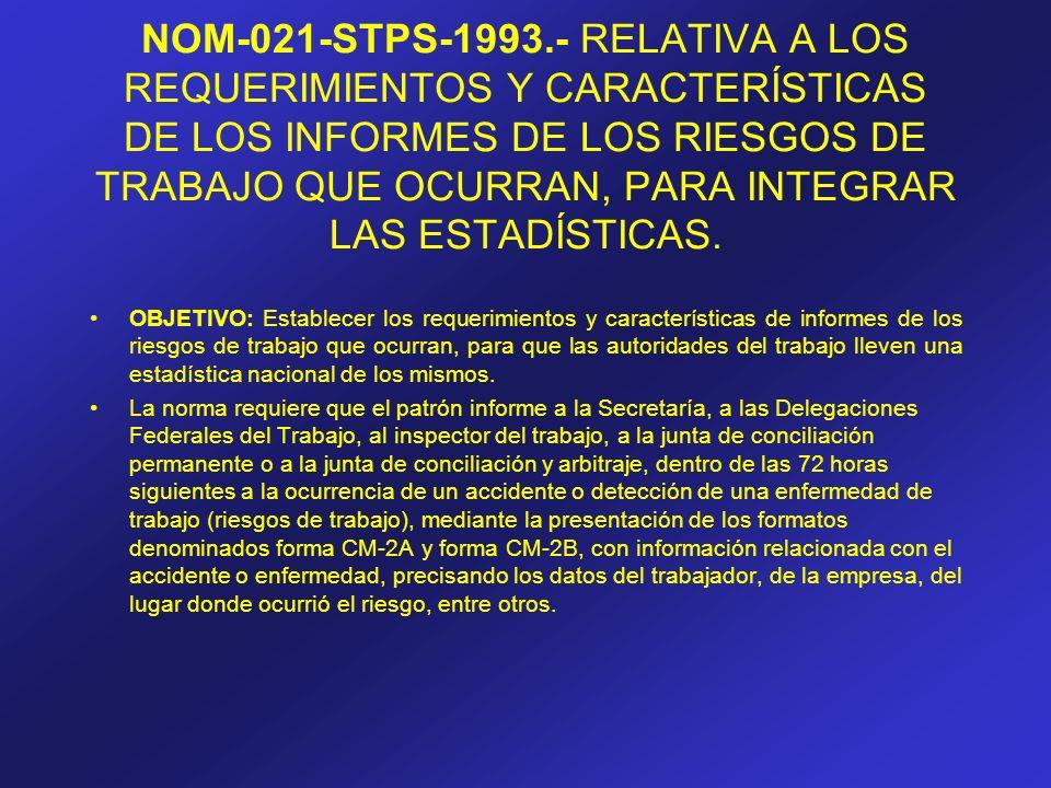 NOM-021-STPS-1993.- RELATIVA A LOS REQUERIMIENTOS Y CARACTERÍSTICAS DE LOS INFORMES DE LOS RIESGOS DE TRABAJO QUE OCURRAN, PARA INTEGRAR LAS ESTADÍSTICAS.