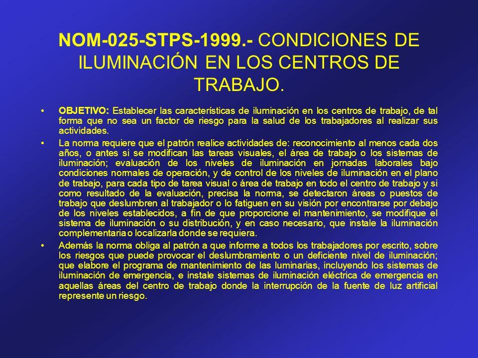 NOM-025-STPS-1999.- CONDICIONES DE ILUMINACIÓN EN LOS CENTROS DE TRABAJO.