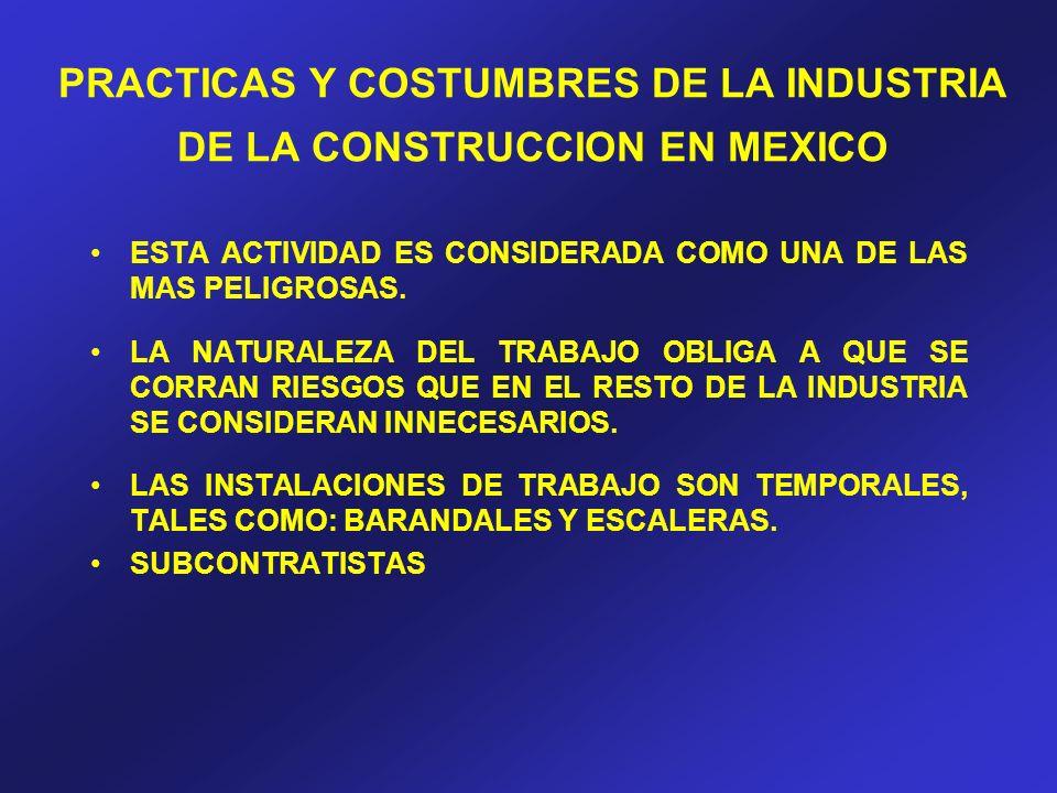 PRACTICAS Y COSTUMBRES DE LA INDUSTRIA DE LA CONSTRUCCION EN MEXICO