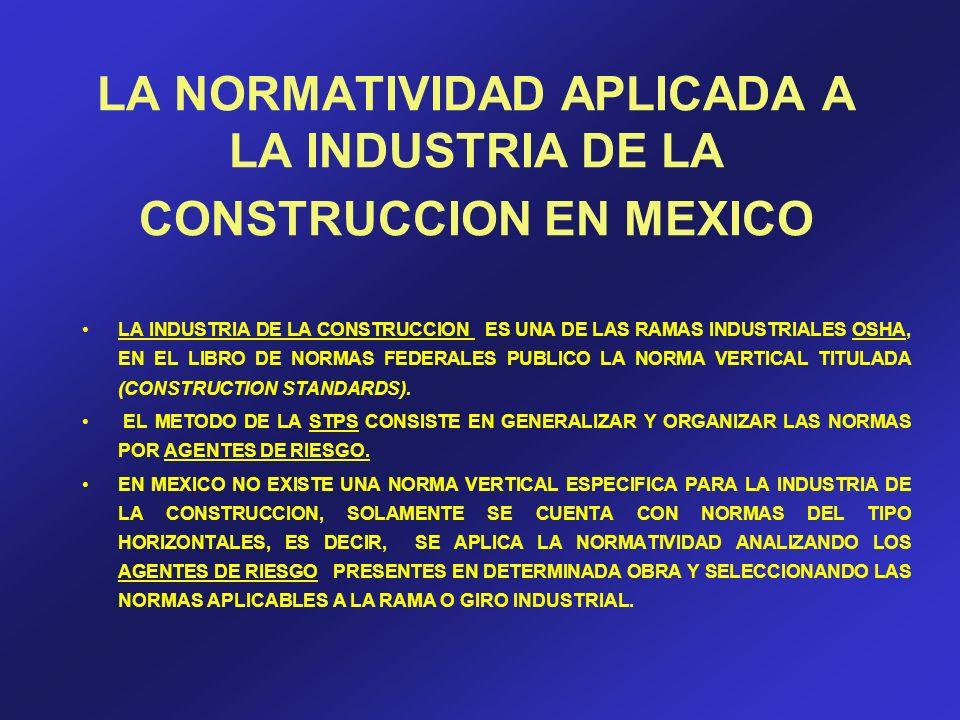 LA NORMATIVIDAD APLICADA A LA INDUSTRIA DE LA CONSTRUCCION EN MEXICO