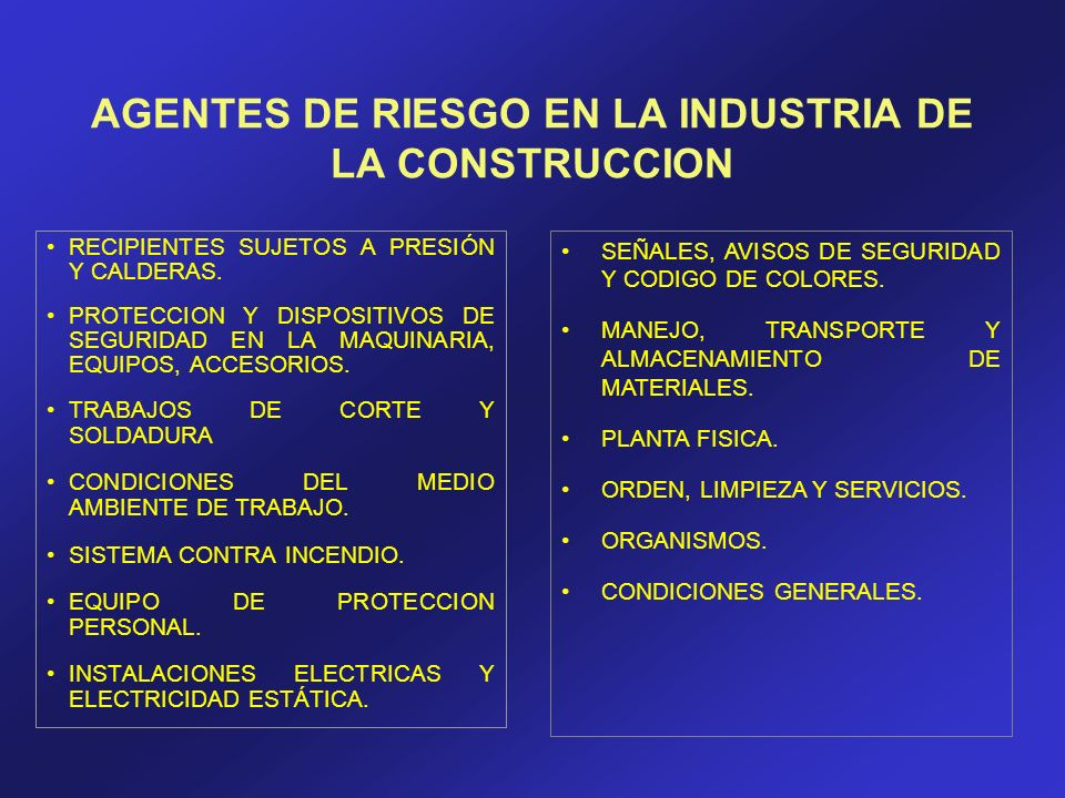 AGENTES DE RIESGO EN LA INDUSTRIA DE LA CONSTRUCCION