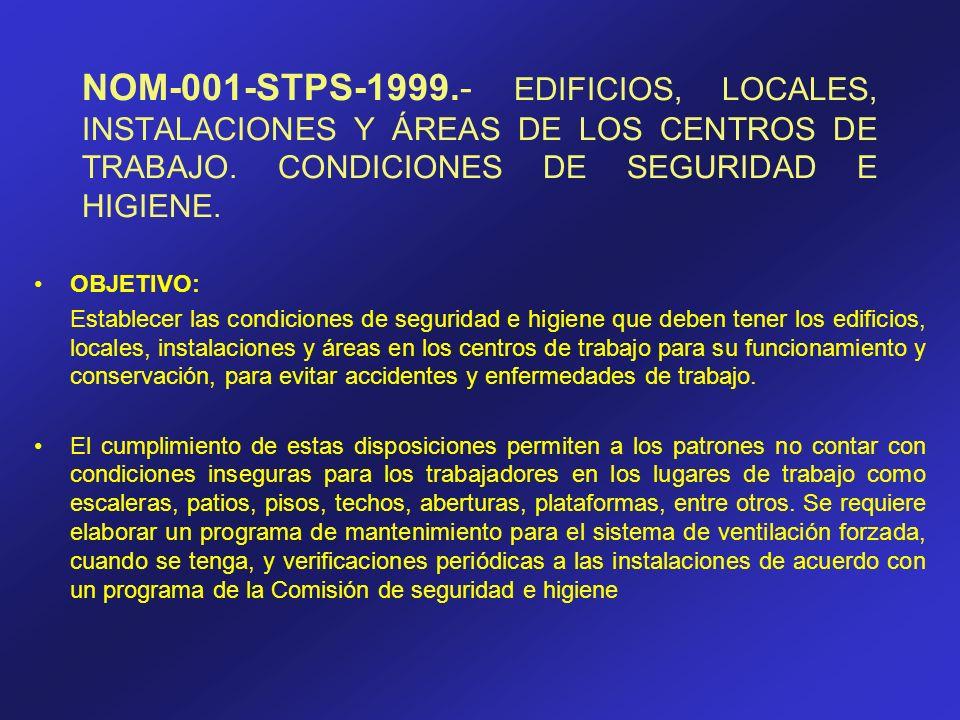 NOM-001-STPS-1999.- EDIFICIOS, LOCALES, INSTALACIONES Y ÁREAS DE LOS CENTROS DE TRABAJO. CONDICIONES DE SEGURIDAD E HIGIENE.