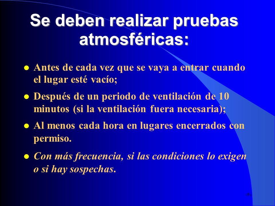 Se deben realizar pruebas atmosféricas: