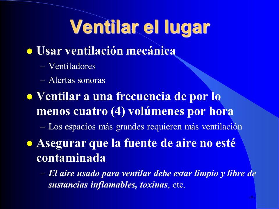 Ventilar el lugar Usar ventilación mecánica