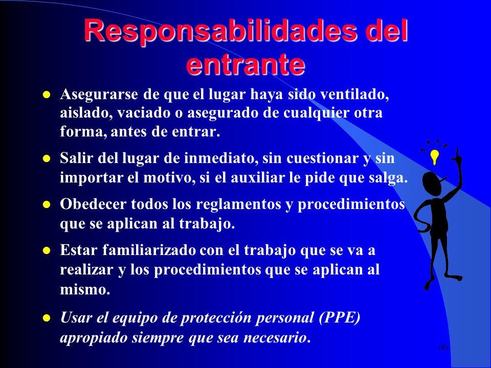 Responsabilidades del entrante