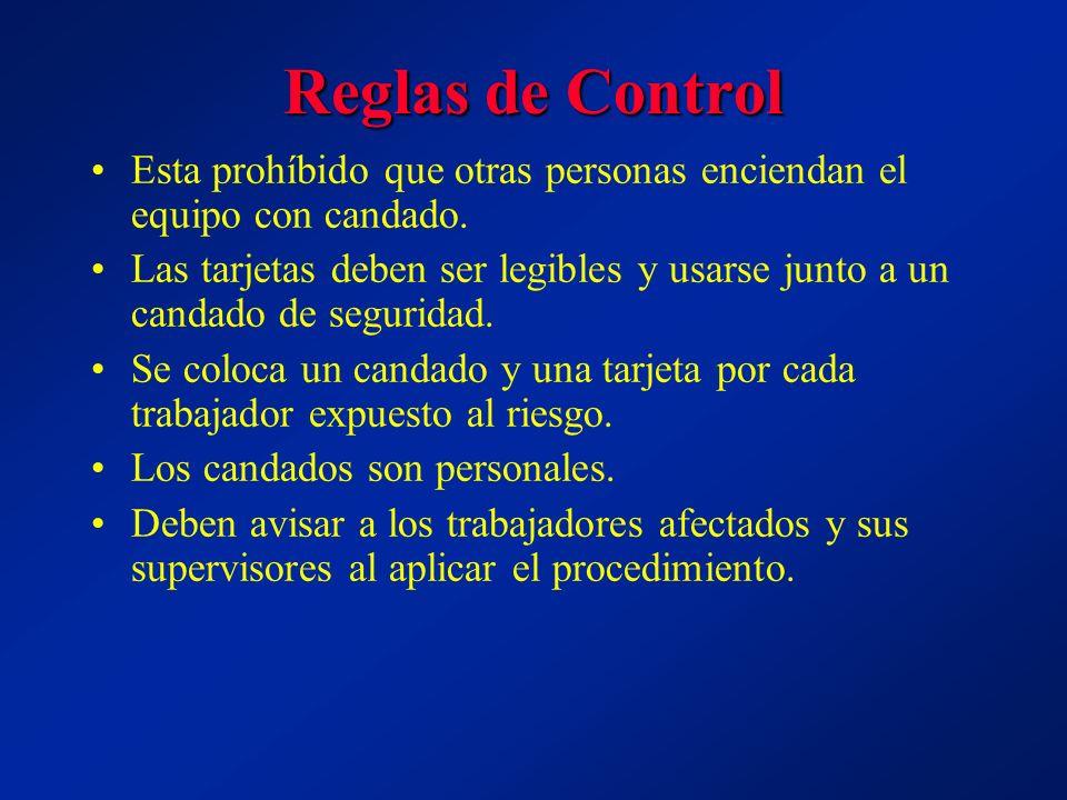 Reglas de Control Esta prohíbido que otras personas enciendan el equipo con candado.