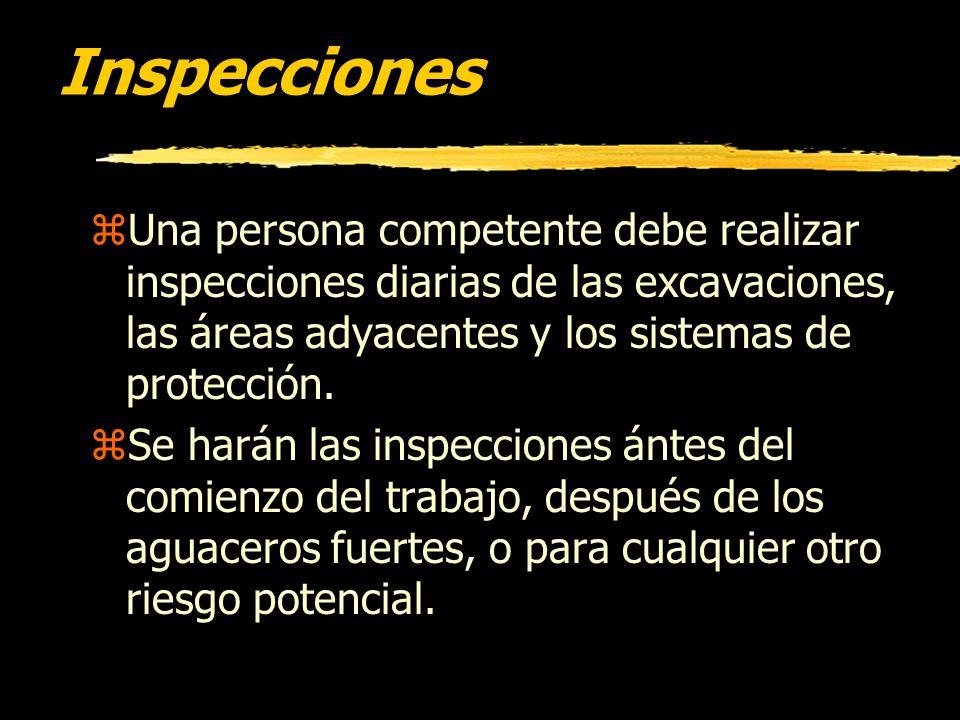 InspeccionesUna persona competente debe realizar inspecciones diarias de las excavaciones, las áreas adyacentes y los sistemas de protección.
