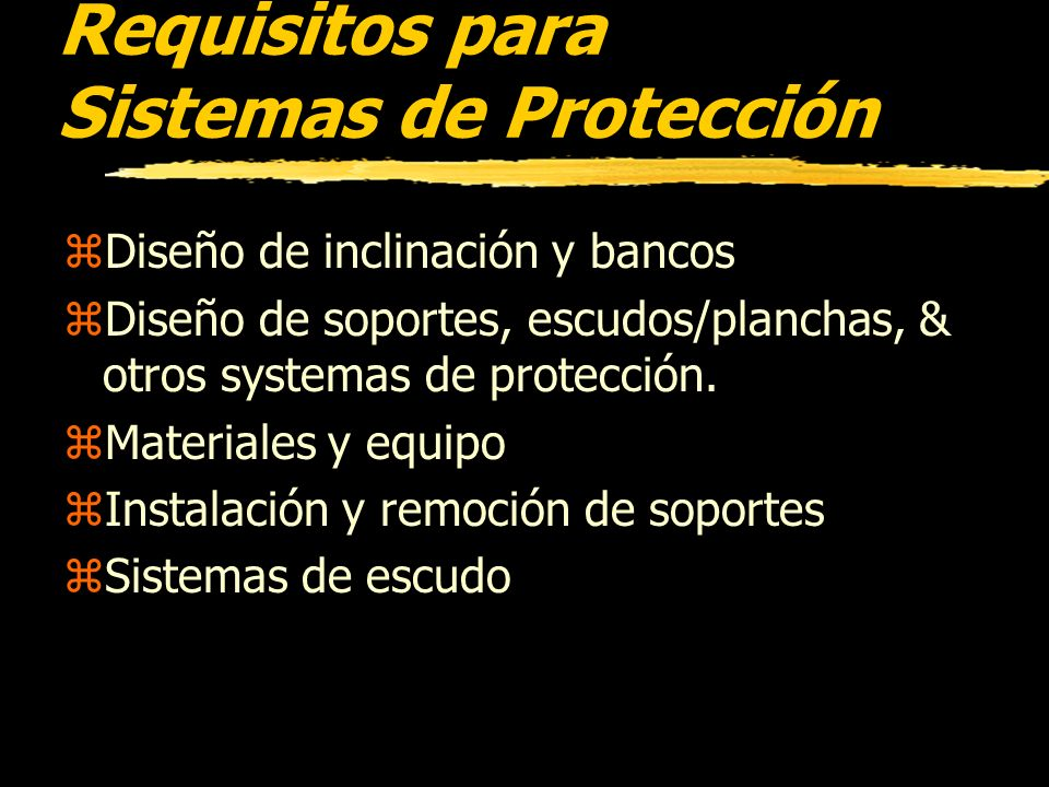 Requisitos para Sistemas de Protección