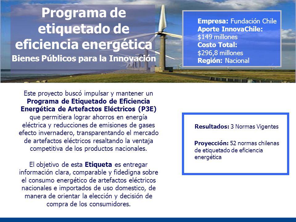 Programa de etiquetado de eficiencia energética Bienes Públicos para la Innovación