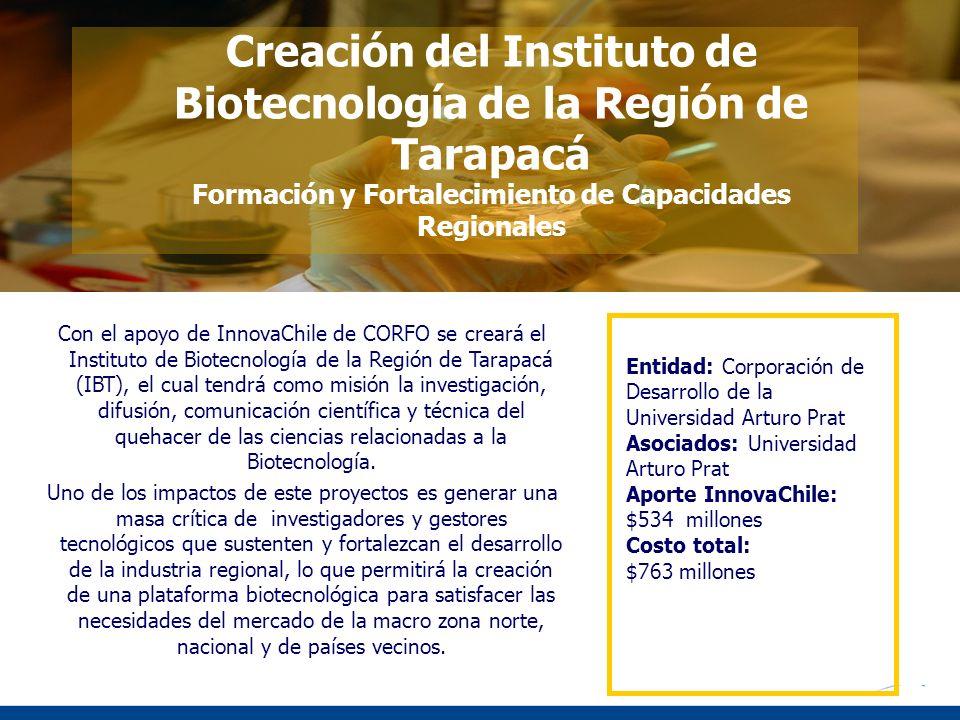 Creación del Instituto de Biotecnología de la Región de Tarapacá Formación y Fortalecimiento de Capacidades Regionales