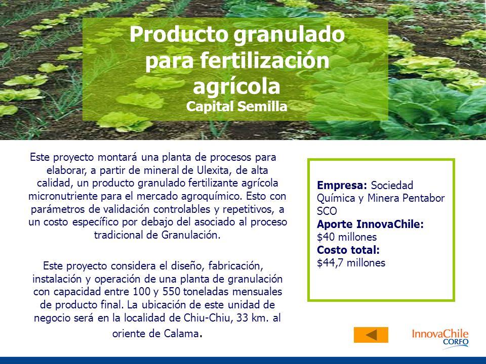 Producto granulado para fertilización agrícola Capital Semilla