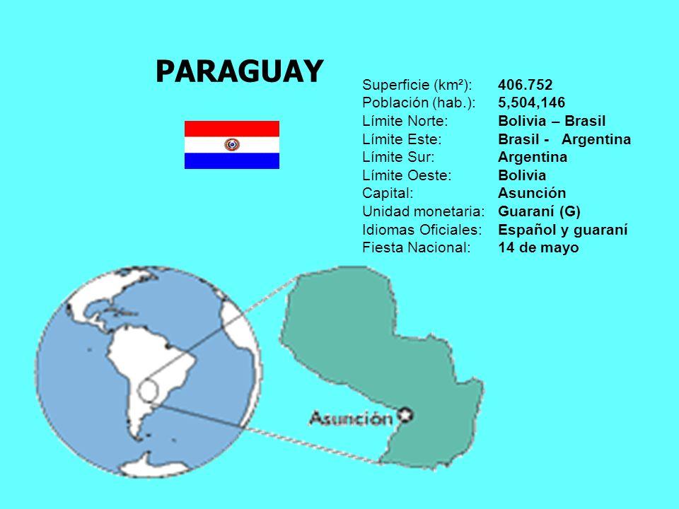 PARAGUAY Superficie (km²): 406.752 Población (hab.): 5,504,146
