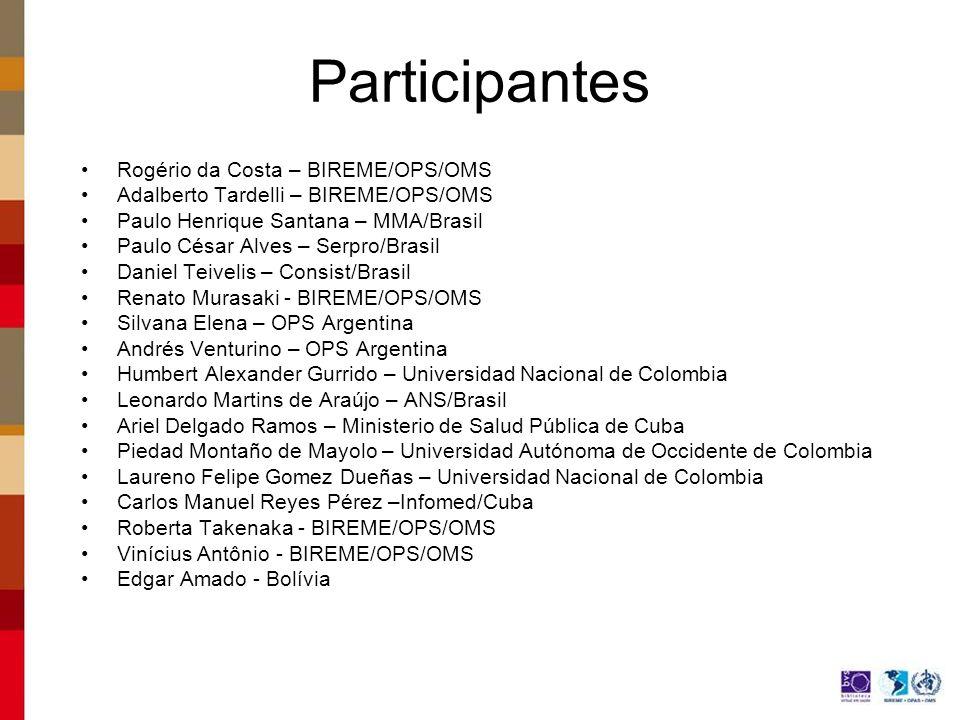Participantes Rogério da Costa – BIREME/OPS/OMS