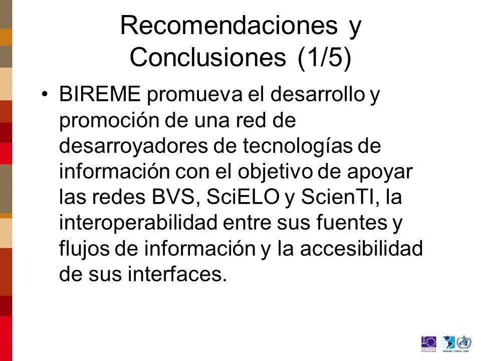 Recomendaciones y Conclusiones (1/5)