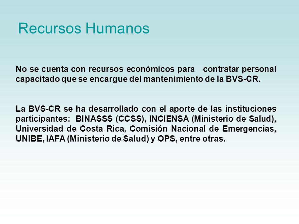 Recursos Humanos No se cuenta con recursos económicos para contratar personal capacitado que se encargue del mantenimiento de la BVS-CR.