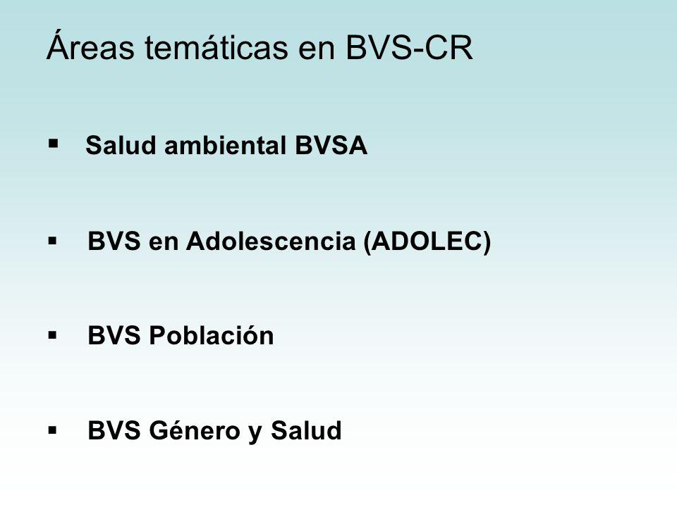 Áreas temáticas en BVS-CR