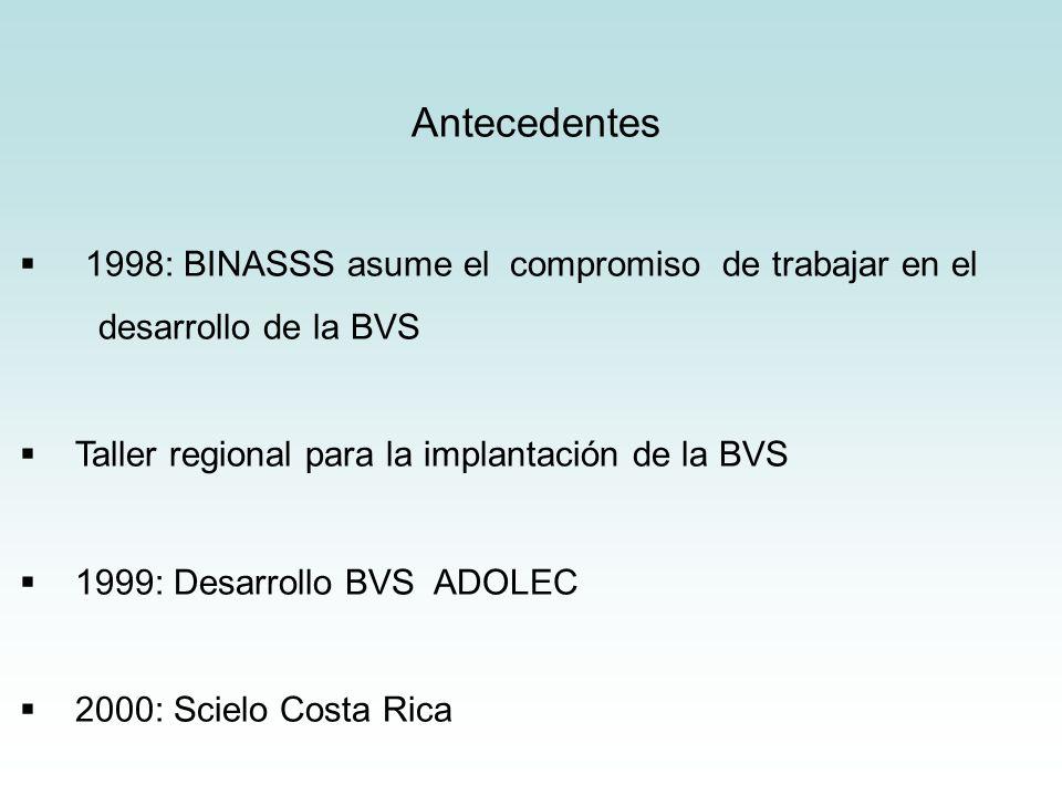Antecedentes 1998: BINASSS asume el compromiso de trabajar en el