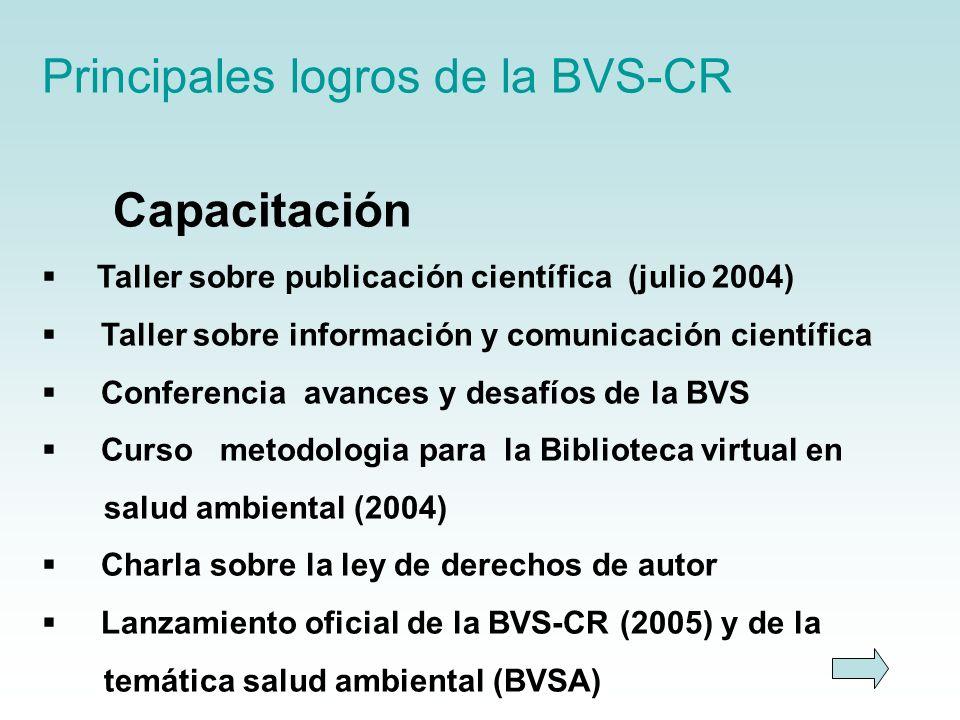 Principales logros de la BVS-CR