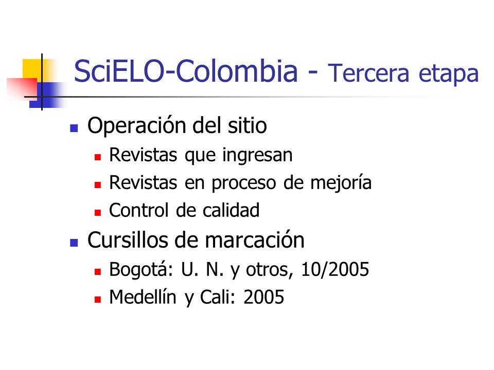 SciELO-Colombia - Tercera etapa