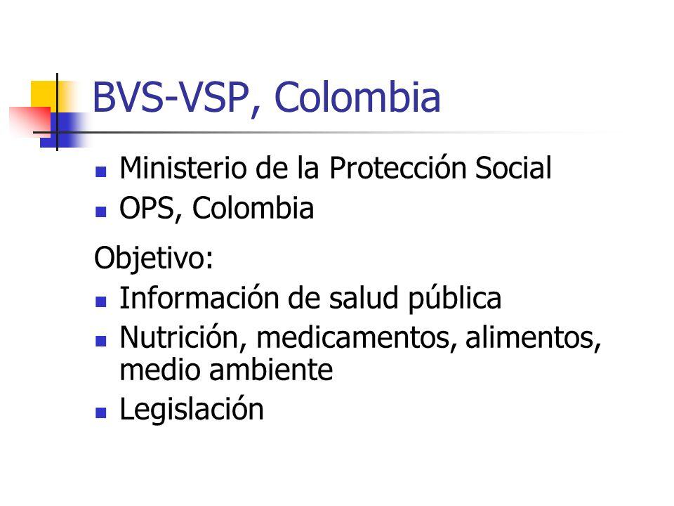BVS-VSP, Colombia Ministerio de la Protección Social OPS, Colombia
