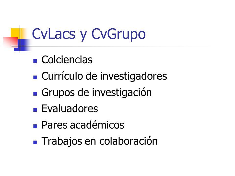 CvLacs y CvGrupo Colciencias Currículo de investigadores